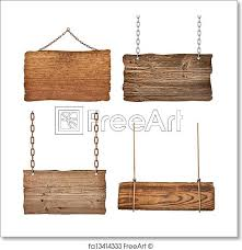 free art print of wooden sign background message rope chain hanging collection of various empty wooden signs hanging on a rope and chain on white