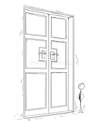 front door drawing. Download Cartoon Of Business Man Standing In Front Large Door Stock Vector - Illustration Drawing