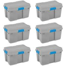 Heavy duty small parts bin cabinets puts parts at your fingertips. Sterilite 18336a03 30 Gallon Heavy Duty Plastic Storage Container Box With Lid And Latches Grey Blue 6 Pack Target