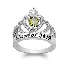 Details About White Gold Plated School Class Of 2019 Graduation Peridot Cz Ring Size 5 10