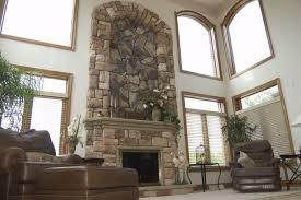 river rock veneer fireplace