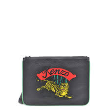 Kenzo Womens Kenzo Jumping Tiger Black Tumbled Leather