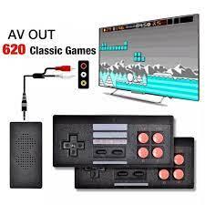 Bộ điều khiển trò chơi điện tử 4 nút máy chơi game cầm tay không dây mini  tích hợp 620 trò chơi 8 bit đầu ra AV /HDMI