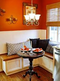 Interior:Cozy Corner Kitchen Banquette For Small Space Seating Also Round  Table Plus Decorative Pillows