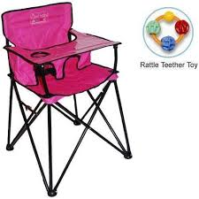 Amazon.com : ciao baby - Portable High Chair with Rattle Teether Toy Pink Baby