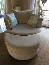 dfs cream skill 3 seater sofa large swivel chair and half moon footstool