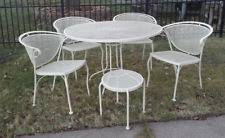 Vintage wrought iron garden furniture Antique Vintage Wrought Iron Patio Garden Dining Set With Side Table Pc Woodard Style Ebay Woodard Patio Ebay