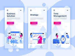Set Of Onboarding Screens User Interface Kit For Solution