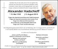 Traueranzeige Von Alexander Hadschieff Vom 09082013