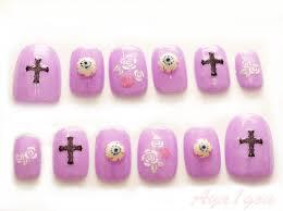 Pastel goth Japanese 3D nail art creepy cute cross