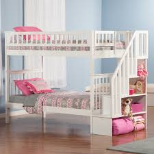 white bunk bed with stairs.  Bed Loft Bed With Stairs  Bunk Stairway Beds For Girls In White With