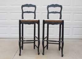 Furniture French Country Bar Stools With Carved Wooden Back In