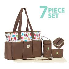 soho collections large tote diaper bag for mom stylish insulated multiple pockets large capacity with stroller straps cushioned diaper pad