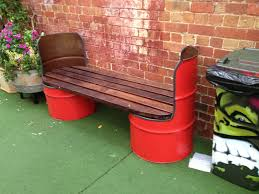 recycled furniture pinterest. Creative Bench With Recycled 55-gallon Drums. Furniture Pinterest
