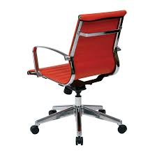 office chair controls. Office Star 73129LT Mid Back Red Eco Leather Chair With Locking Tilt Control And Polished Aluminum Controls