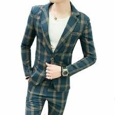 Details About Men Blazers Formal Plaid Vintage Suits Pants 2 Piece Set Slim Fit