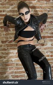 young fashion women wearing leather clothes