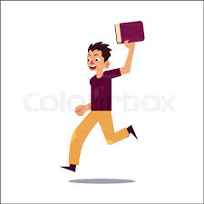 portrait of young man guy boy running with open mouth holding book cartoon vector ilration isolated on white background funny young man running to