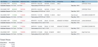 photo credit eservices railway gov lk schedule