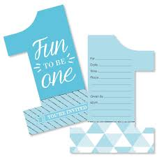 Birthday Invitations Boy 1st Birthday Boy Fun To Be One Shaped Fill In Invitations First Birthday Party Invitation Cards With Envelopes Set Of 12
