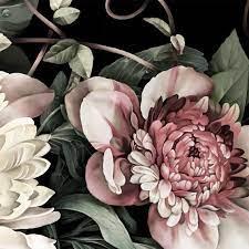 Black floral wallpaper, Flower wallpaper