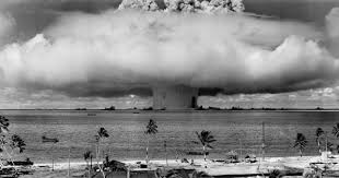 nuclear disarmament  mushroom shaped cloud and water column from the underwater nuclear explosion of 25 1946 which was part of operation crossroads