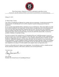 Leadership Recommendation Letter Letter Of Recommendation From The National Society Of Leadership And 2