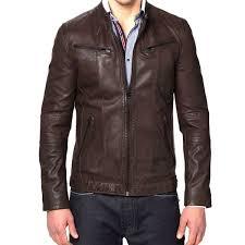 designer brown biker men s genuine leather jacket