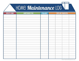 Home Maintenance Log Home Maintenance Schedule Printable And