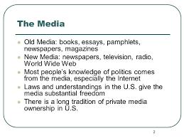 chapter twelve the media  old media books essays pamphlets   old media books essays pamphlets newspapers magazines new media