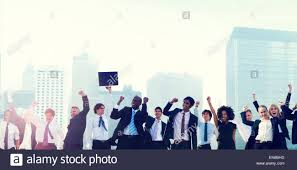 Corporate Celebration Business People Corporate Celebration Success City Concept Stock