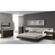 Modern Bedroom Dressers And Chests Porto Light Grey Lacquer Wenge 5 Pc Premium Bedroom Set Bed 2