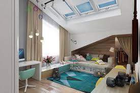 bedroom teen girl rooms walk. Teens Room Teal And Yellow Kids Features Slanted Ceiling With Skylights Also Beige Sofa Bed Bedroom Teen Girl Rooms Walk W