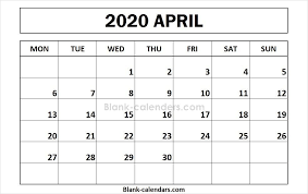 April 2020 Template Printable April 2020 Calendar Monday Start September