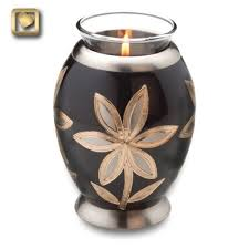 Small Decorative Urns The Tealight Brass Keepsake Cremation Urn with Lilies is a lovely 2