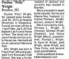 obit Pauline Polly Ray Wright - Newspapers.com