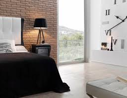 exposed brick bedroom design ideas. Grand Master Bedroom Decorating With Natural Look Faux Exposed Brick Wall Wallpaper Feat Black Cover King Bed Sheet Also Romantic Shade Table Lamps Decors Design Ideas