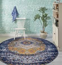 amer rugs manhattan navy orange teal pink yellow ivory round area rug man 34 rou