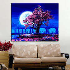 2018 handpainted romantic moon night pink tree landscape oil pictures diy painting by numbers kits coloring on canvas wall art decor from framedpainting  on number canvas wall art with 2018 handpainted romantic moon night pink tree landscape oil
