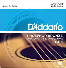 Acoustic Guitar String Tension Chart Daddario Ej16 Phosphor Bronze Light Acoustic Guitar Strings