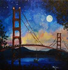 moonshine at golden gate bridge san francisco painting by marinelaart acrylic fine art painting on x large canvas paintings