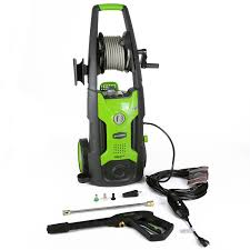com greenworks 1950 psi 13 amp 1 2 gpm pressure washer with hose reel gpw1951 garden outdoor