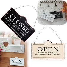 wooden wall door decor open closed both sides hanging retro plaque bar sign