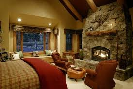 master bedroom ideas with fireplace. Rustic Bedroom With Stacked Stone Fireplace Master Ideas D