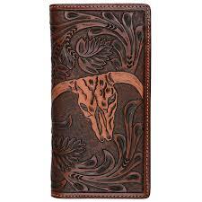 3d mens tan western cow skull rodeo wallet