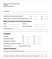 Evaluation Form Template Product Evaluation Forms Templates Rome Fontanacountryinn Com