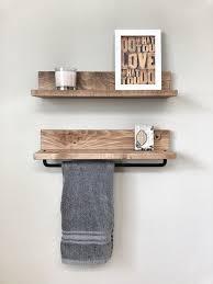 rustic wooden towel rack for bathroom