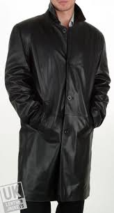 men s 3 4 length black leather coat saint