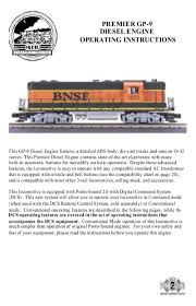 premier gp-9 diesel engine operating instructions - MTH Trains
