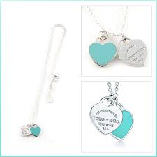 tiffany double heart necklace blue return to mini tag pendant in silver